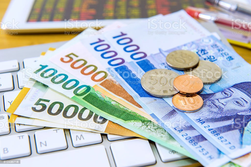 South Korean won currency and finance business. Business concept. stock photo