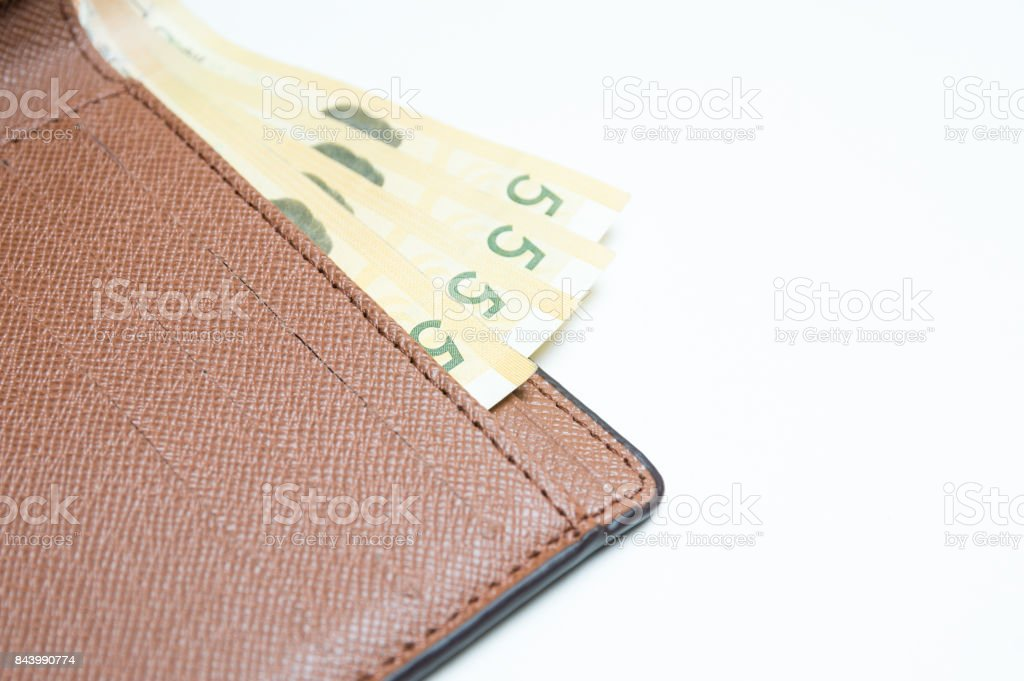 South Korean won currency in wallet on white background stock photo