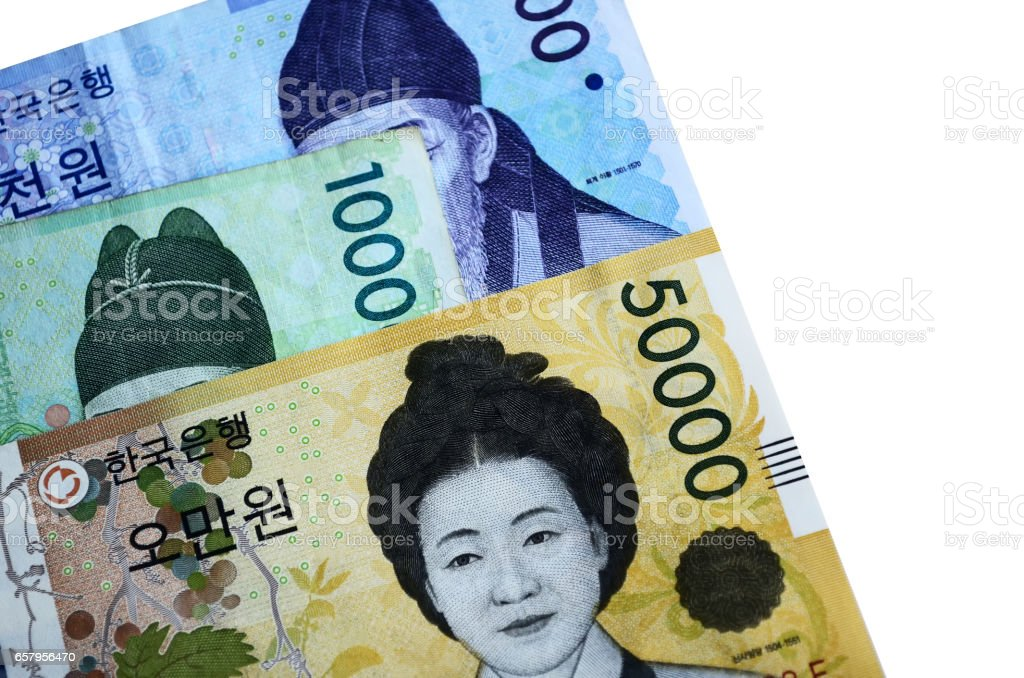 South Korean Won Currency on White Backgrounds stock photo