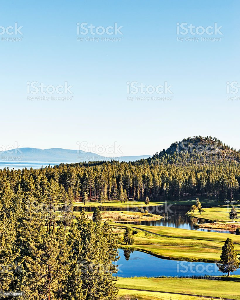 South Lake Tahoe Golf Course with Waterways from above stock photo