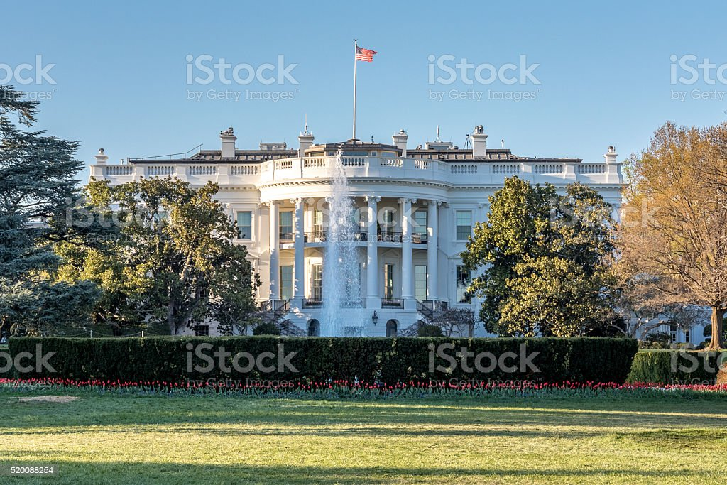 South Lawn of the White House in Washington DC stock photo