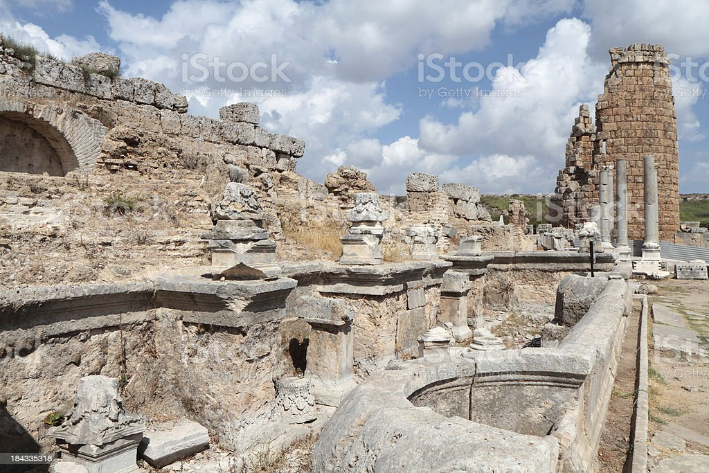 'South Nymphaeum and Hellenistic Gateway, Ancient Perge, Turkey' stock photo