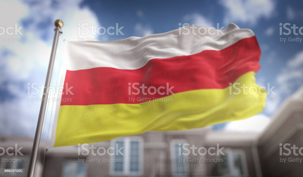 South Ossetia Flag 3D Rendering on Blue Sky Building Background stock photo
