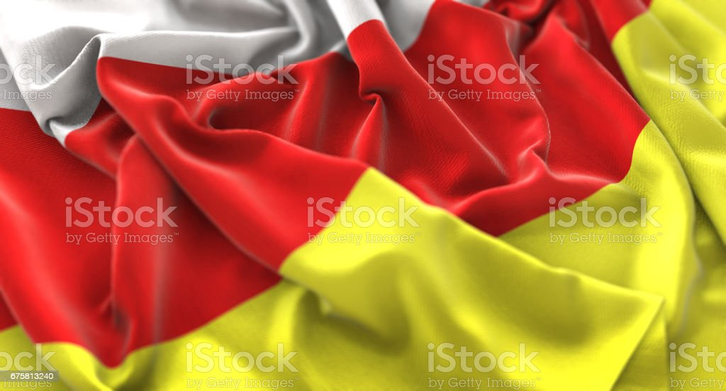South Ossetia Flag Ruffled Beautifully Waving Macro Close-Up Shot stock photo
