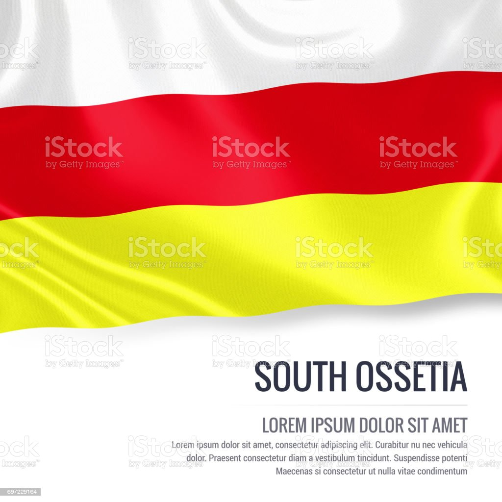 South Ossetia flag. Silky flag of South Ossetia waving on an isolated white background with the white text area for your advert message. 3D rendering. stock photo