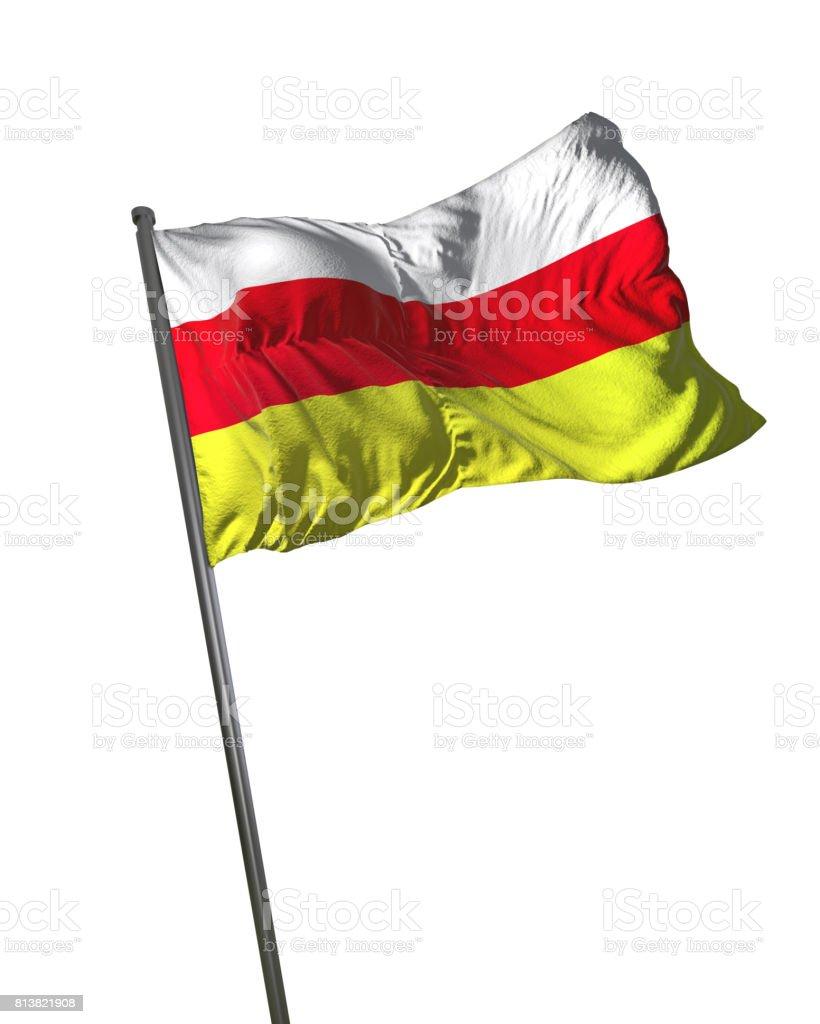 South Ossetia Flag Waving Isolated on White Background Portrait stock photo