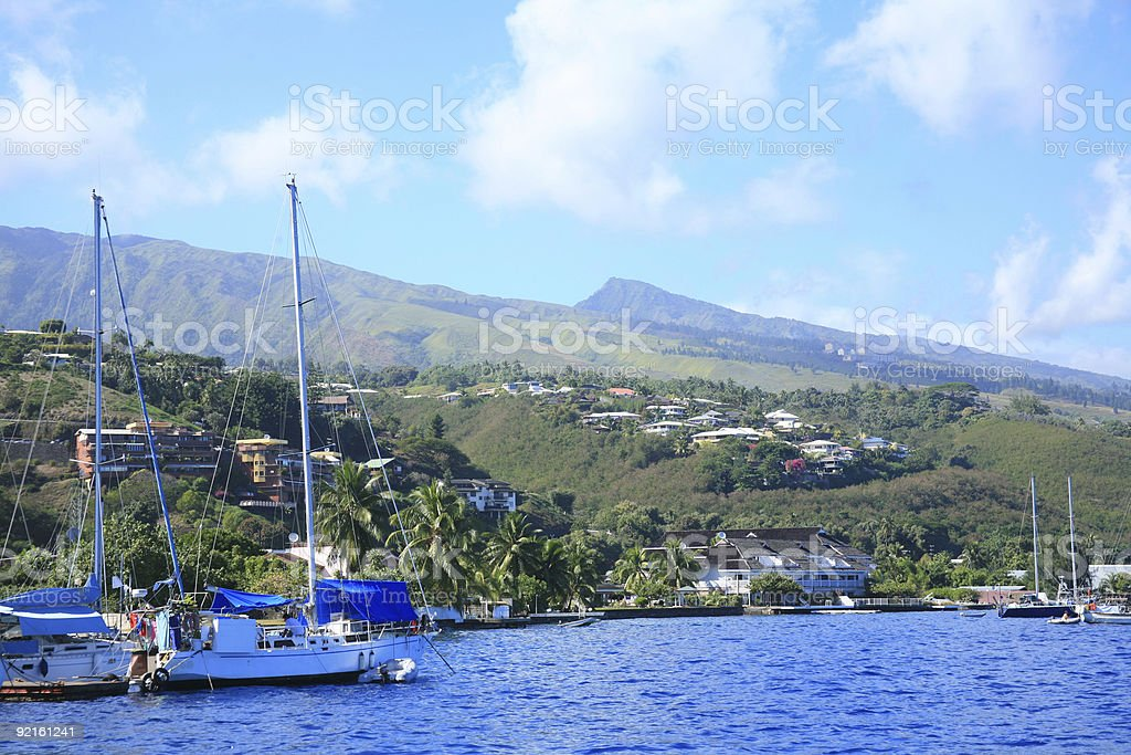 South Pacific Blue - Island of Tahiti royalty-free stock photo