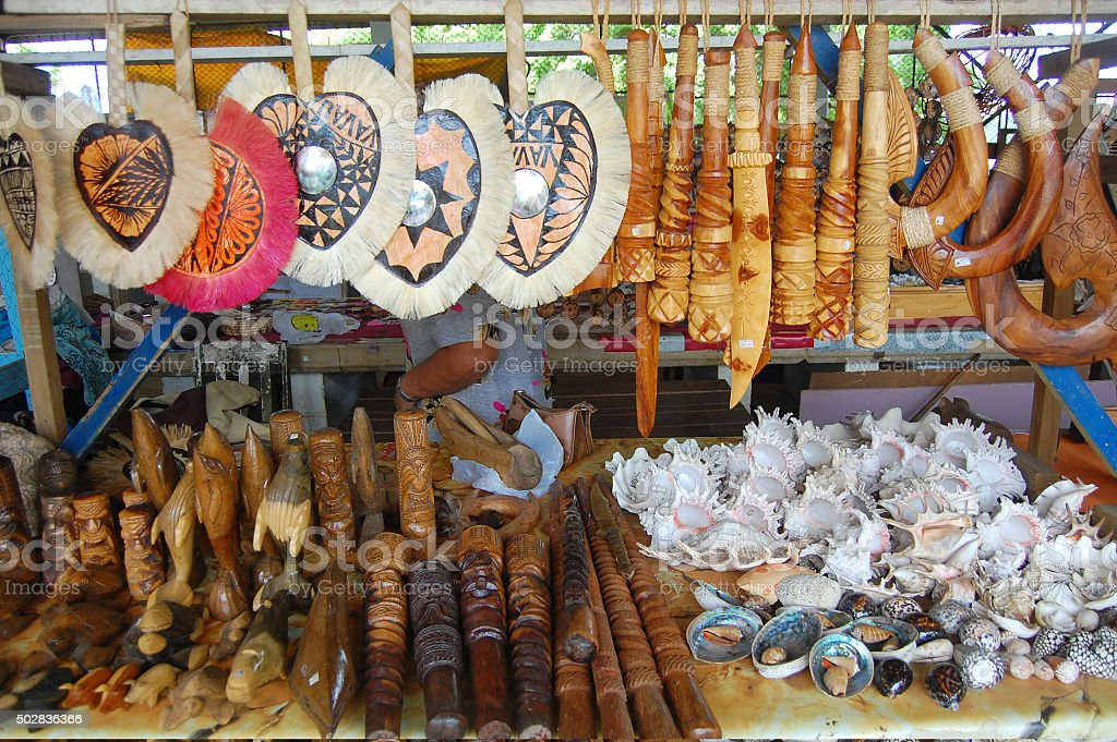 South Pacific souvenirs at market stock photo