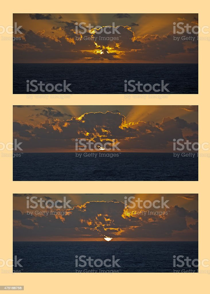 South Pacific sunset triptych stock photo