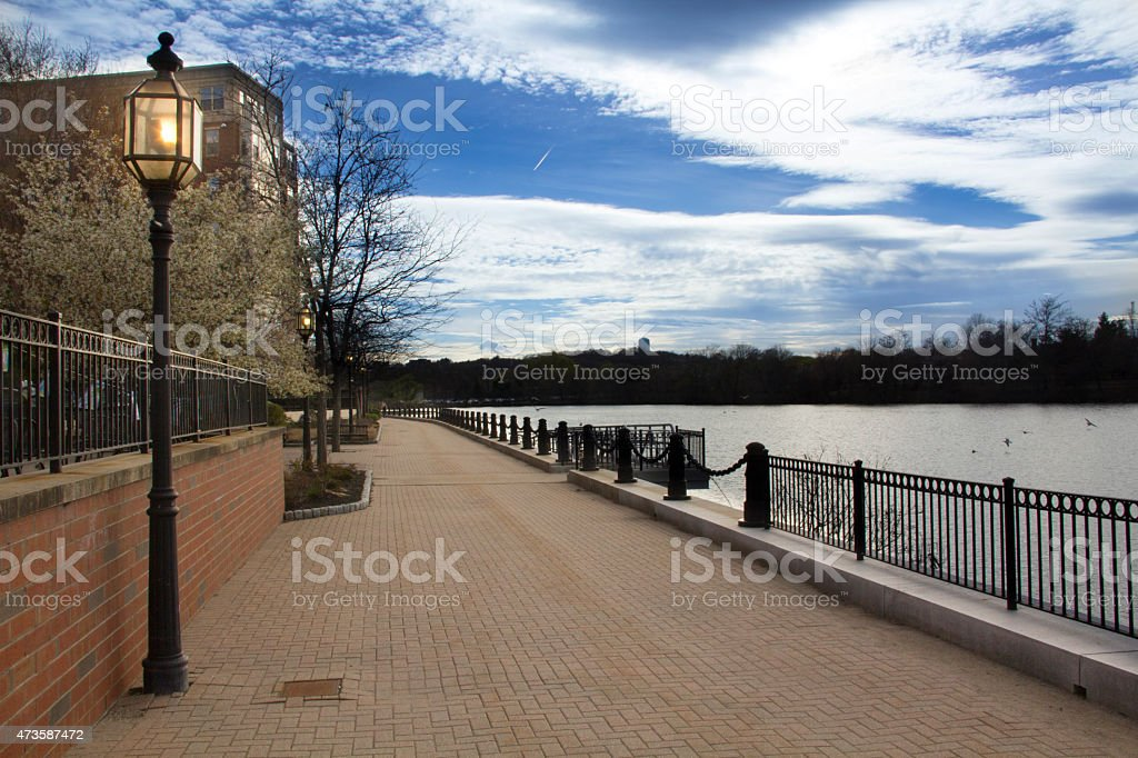 South part of the Riverwalk Trail in Waltham, Massachusetts. stock photo
