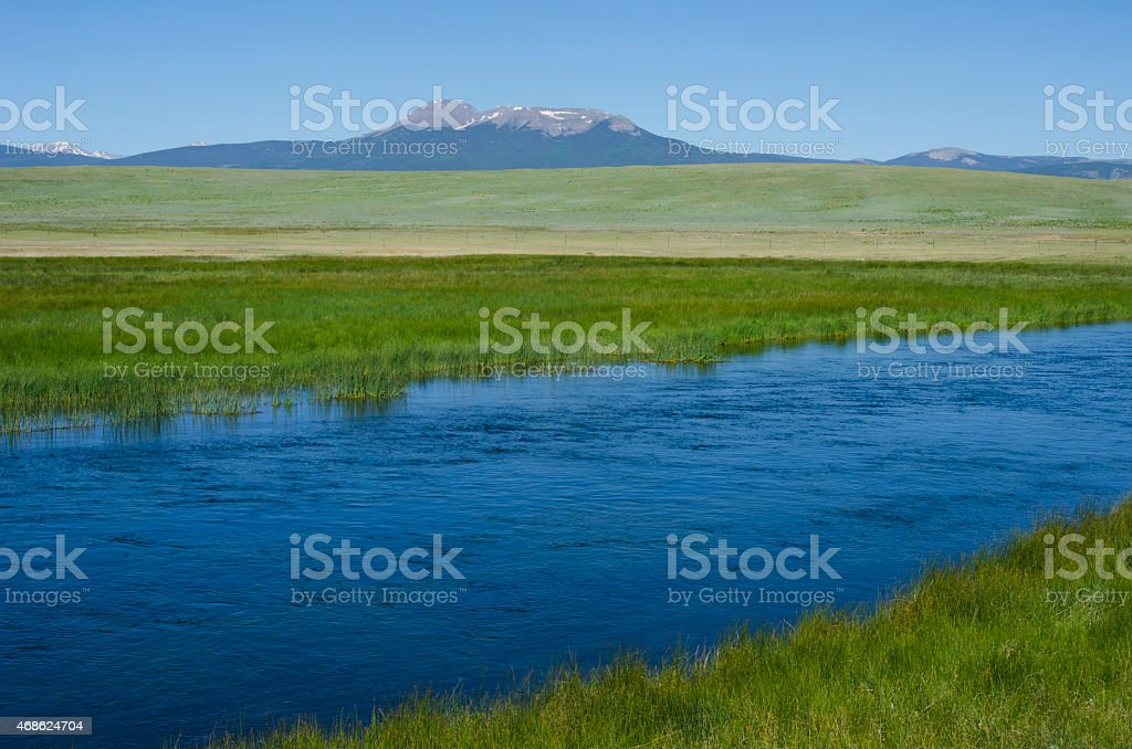 South Platte River and Mountains in South Park, Colorado stock photo
