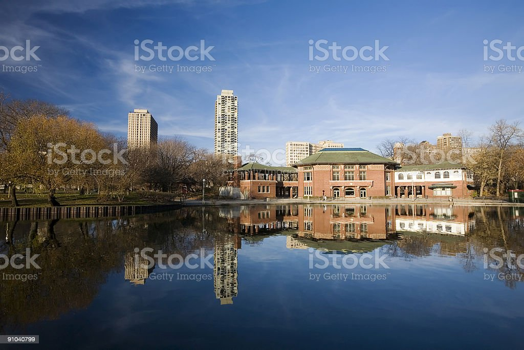 South Pond Lincoln Park and Cafe Brauer stock photo