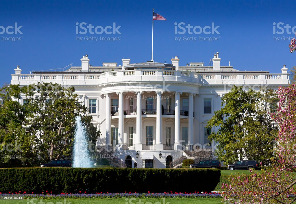South Portico of the White House, Washington DC, USA. stock photo