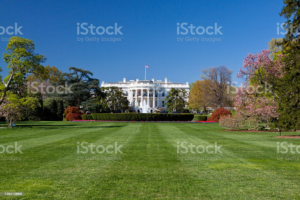 South Portico of White House, Washington DC. Clear blue sky. royalty-free stock photo