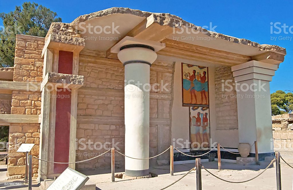 South Propylaeon at the Knossos palace on the Crete stock photo
