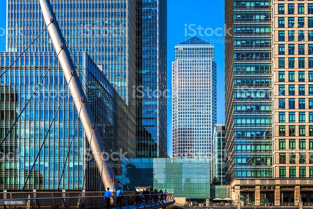 South Quay Footbridge in Canary Wharf stock photo