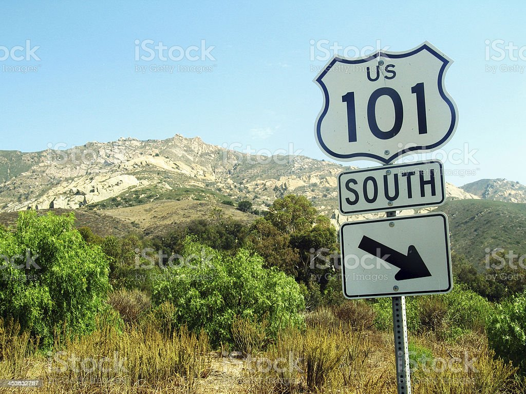 US 101 South Road Sign stock photo