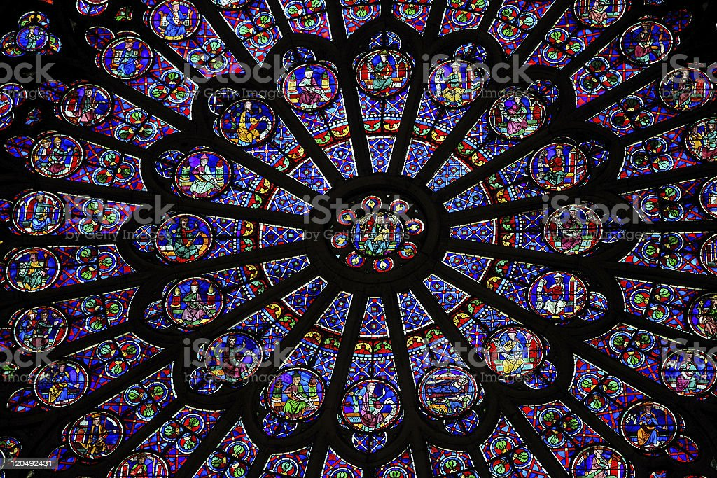 South Rose Window of Notre Dame Cathedral stock photo