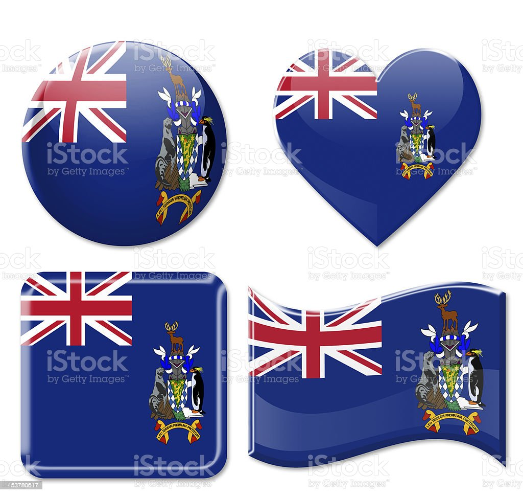 South Sandwich  Flags & Icon Set stock photo