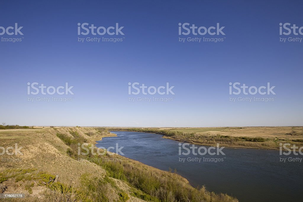 South Saskatchewan River at Saskatoon stock photo