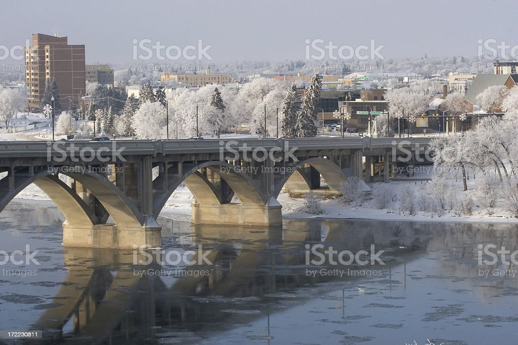 South Saskatchewan River, Broadway Bridge and Hoarfrost stock photo