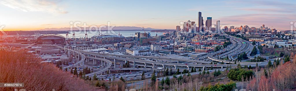 South Seattle Downtown Stadiums, Bridges, Traffic, Cityscape Panorama stock photo