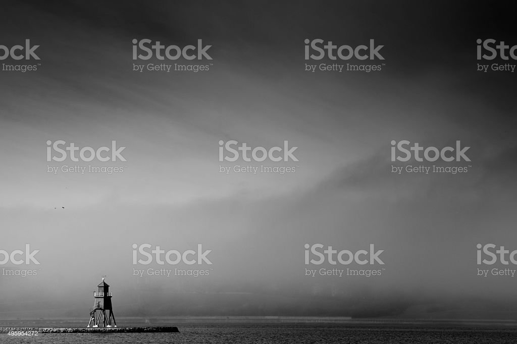 South Shields pier and lighthouse stock photo