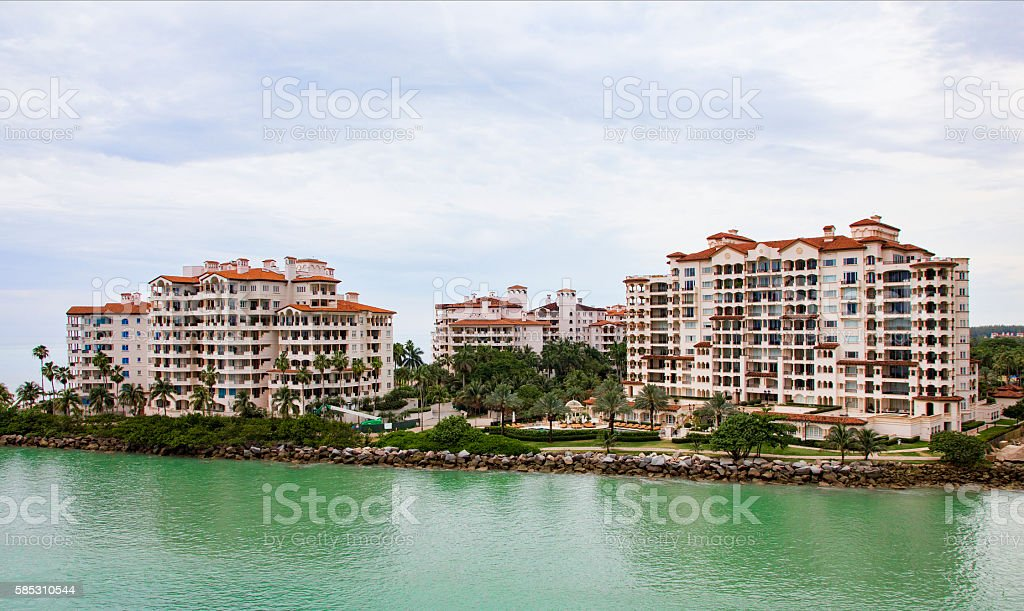 South Shore of Fisher Island Condominiums Close to Downtown Miami stock photo