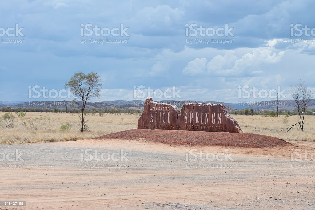South side entrance sign to Alice Springs stock photo