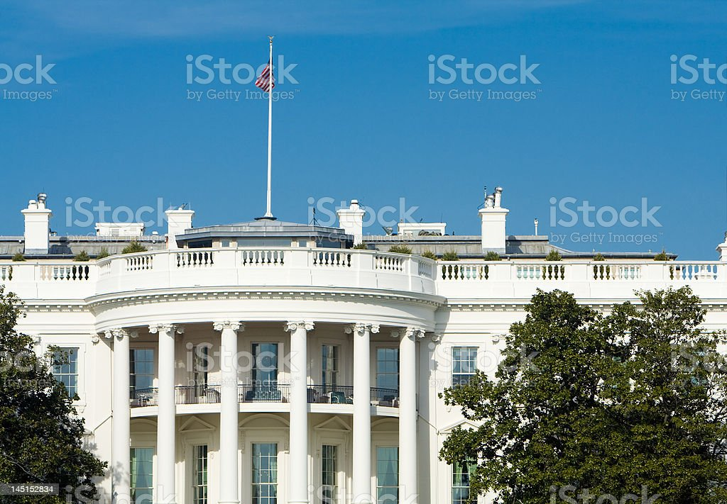South Side of White House, American Flag, Blue Sky royalty-free stock photo