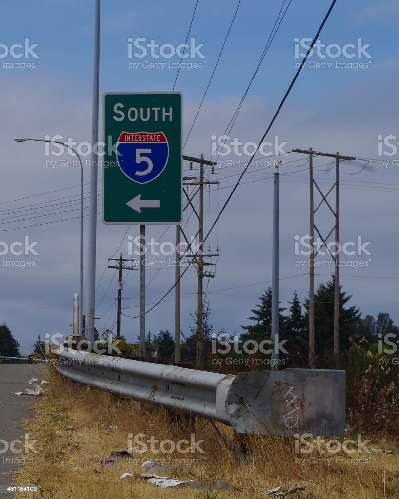 I-5 South Sign on 128th St. Overpass stock photo