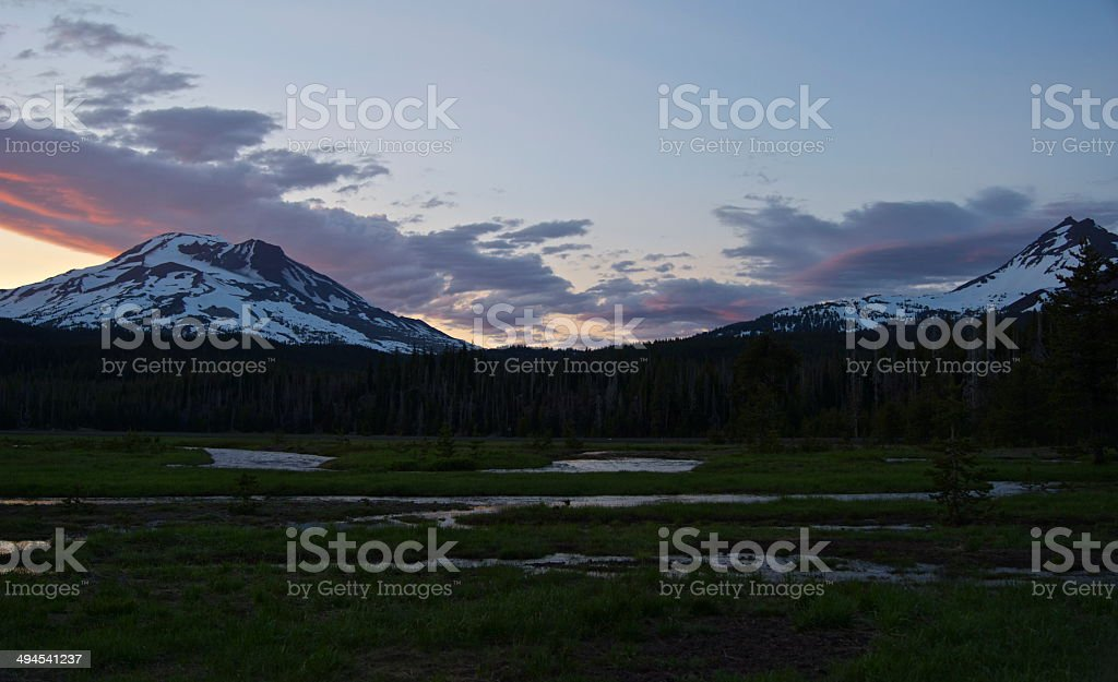 South Sister Ruby Dusk stock photo