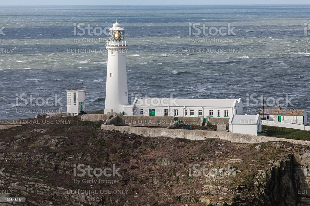 South Stack Light of the Lighthouse shines stock photo