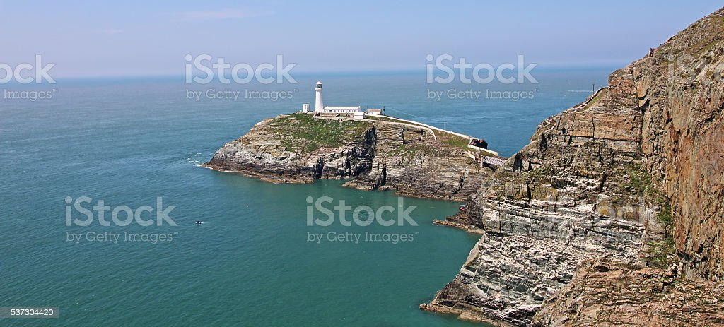 South Stack Lighthouse and Dangerous Cliffs stock photo