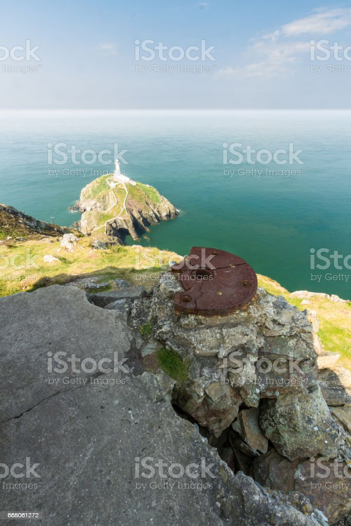 South Stack lighthouse, and gun emplacement, Anglesey stock photo