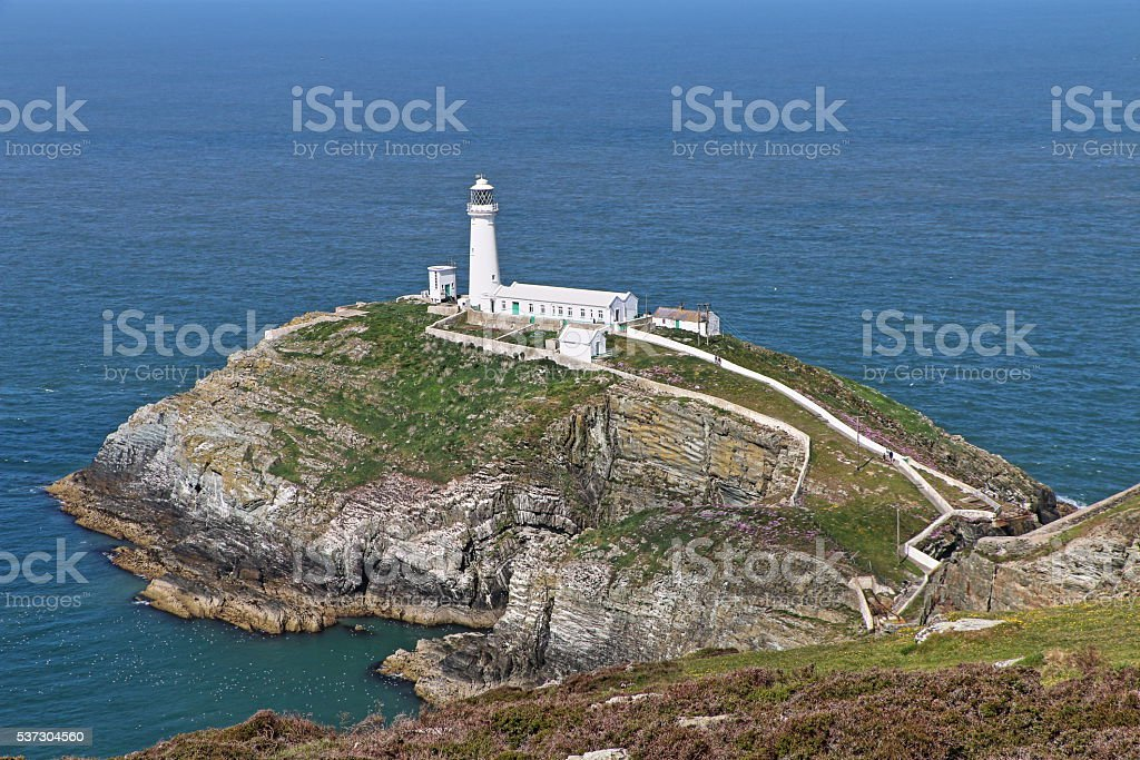 South Stack Lighthouse, Anglesey, Wales, United Kingdom stock photo