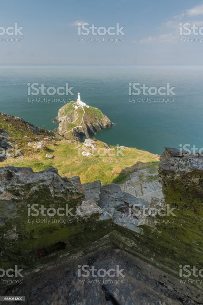South Stack lighthouse, from WWII coastal observation post, Anglesey stock photo