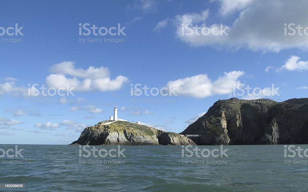 South Stack Lighthouse, island and bridge stock photo
