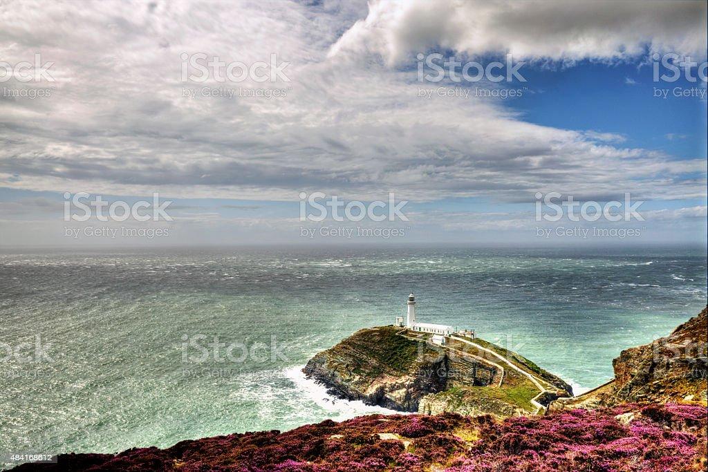 South Stack lighthouse on Anglesey in Wales stock photo