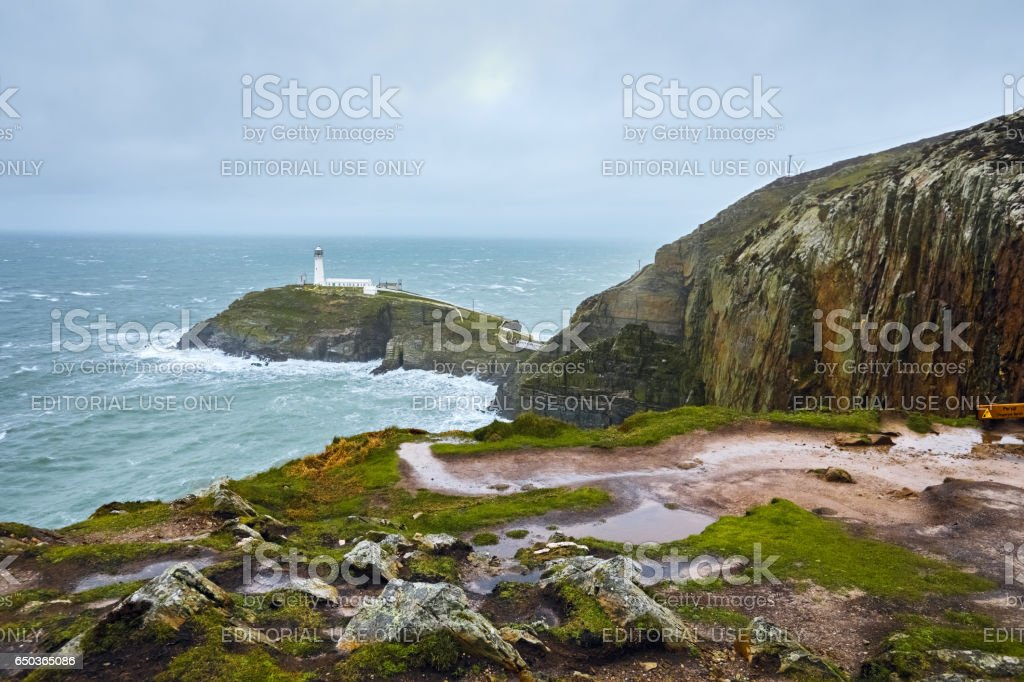 South Stack Lighthouse, Wales, England stock photo