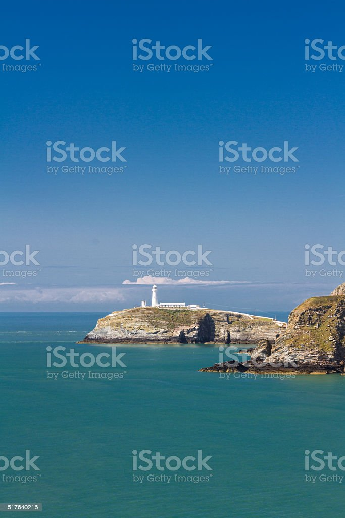 South Stack with lighthouse stock photo