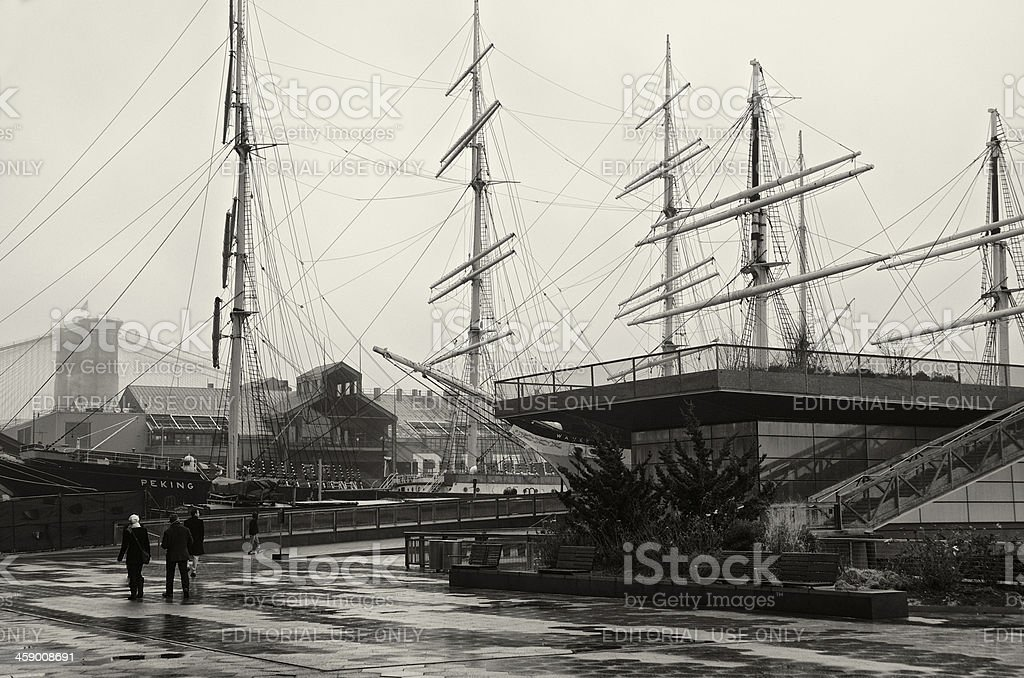 South Street Seaport ships & tourists, foggy day, Lower Manhattan stock photo