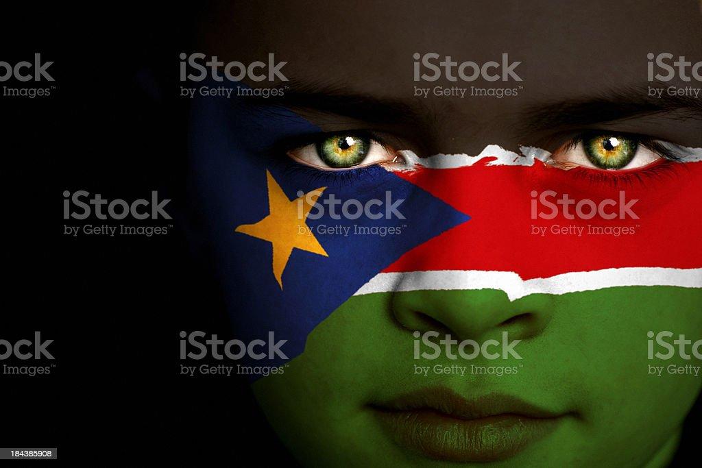 South Sudan flag boy stock photo
