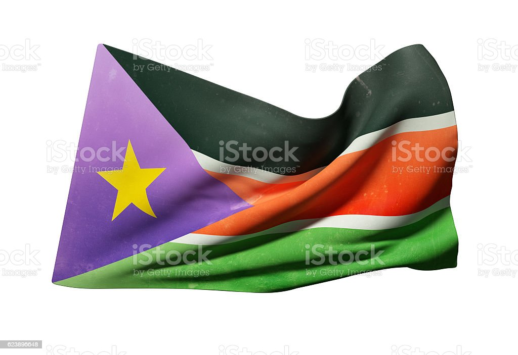 South Sudan flag waving stock photo