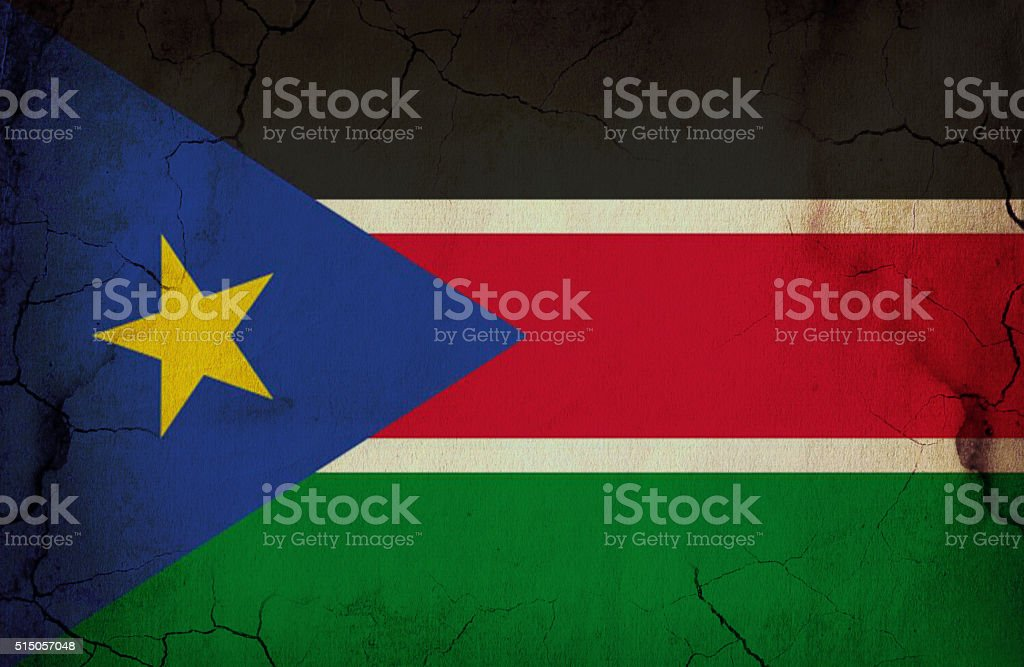 South Sudan grunge flag stock photo