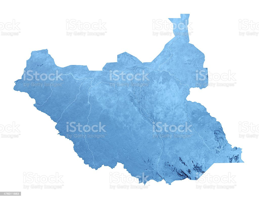 South Sudan Topographic Map Isolated stock photo