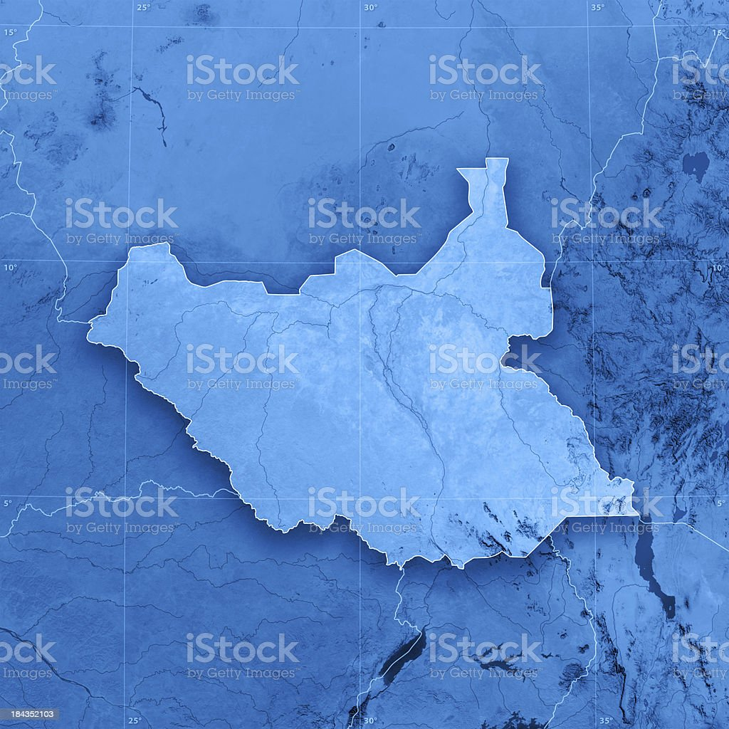 South Sudan Topographic Map stock photo