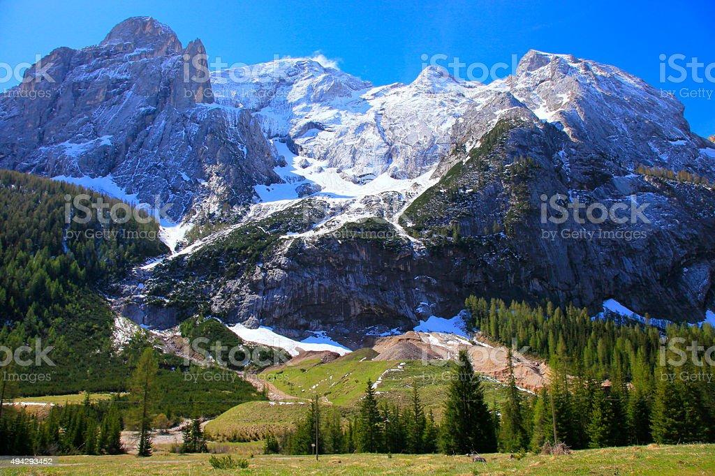 South Tirol paradise: Italian alpine Marmolada group, Queen of Dolomites stock photo