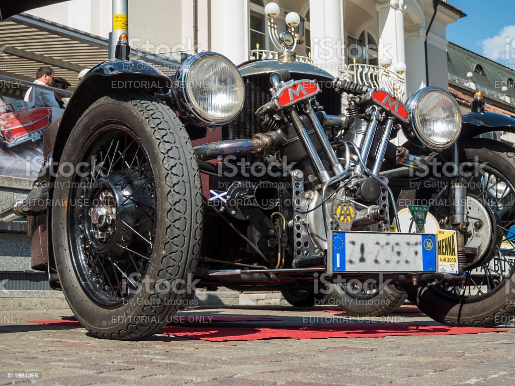 south tyrol classic cars_2015_Morgan three wheeler_front low stock photo