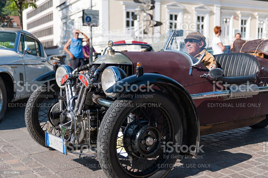 south tyrol classic cars_2015_Morgan three wheeler_front side vi stock photo